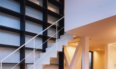 (西東京市)ひばりが丘の木造3階建ての家 (1階から2階に登る白い鉄骨階段その横に壁一面の本棚)