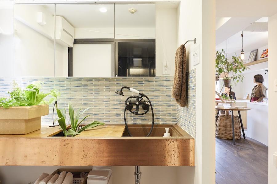 Shan shui house-猫と植物と山水画のような空間に暮らす (洗面室)