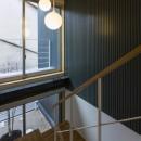 京都の中心でゆったりと時間の流れるプライベートコートを持つ生活空間 : 丸太町の住宅の写真 階段と吹抜け