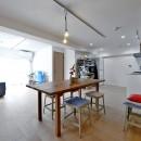 ラフだけどシンプル。ラーチ合板のボックスWTCと土間でつくる、ご夫婦のSOHO住まいの写真 居室とキッチンが繋がり広々LDK