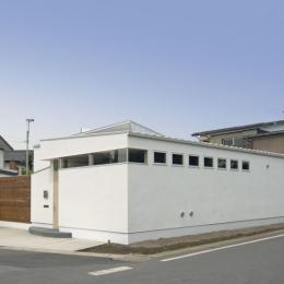 我孫子のコートハウス/平屋の家 (ハイサイドの開口の並ぶ外観)