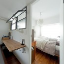 +ダークブルーのモダンな暮らしの写真 ベッドルーム
