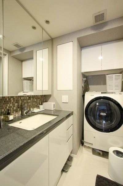 洗面 (新築マンション・オプション工事  壁面収納のデザイン)