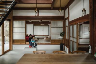 古民家カフェみたいな日本家屋リノベーション(下戸山の家リノベーション) (リビング)