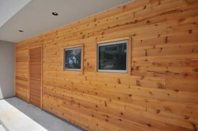 外壁 (傾斜地を活かしたスキップフロアの家)