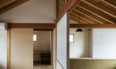 2階:個室空間+吹抜|眺望とお庭を楽しむ|火のある暮らしを楽しむ住まい 天理の家