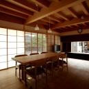 ウッドデッキで繋がる空間|趣味を楽しむ住まい 姫路の家の写真 居間食堂