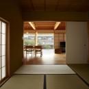 ウッドデッキで繋がる空間|趣味を楽しむ住まい 姫路の家の写真 和室より見る