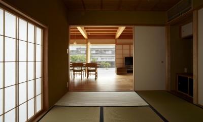 和室より見る|ウッドデッキで繋がる空間|趣味を楽しむ住まい 姫路の家