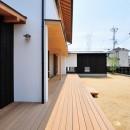 ウッドデッキで繋がる空間|趣味を楽しむ住まい 姫路の家の写真 開放的なウッドデッキ
