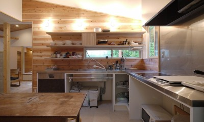 ステンレス天板のオーダーキッチン|森を望む家