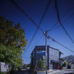 緑豊かな公園に隣接|プライバシーを守りながら開放的に住まう Y字路の家 (外観)