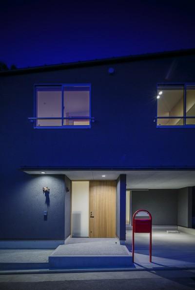 緑豊かな公園に隣接|プライバシーを守りながら開放的に住まう Y字路の家 (エントランス 夜景)