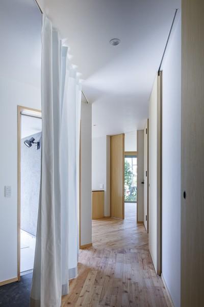 動線の要となる対角に長い廊下 (緑豊かな公園に隣接|プライバシーを守りながら開放的に住まう Y字路の家)