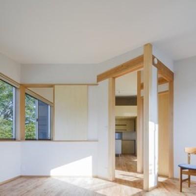 将来の子供室スペース (緑豊かな公園に隣接|プライバシーを守りながら開放的に住まう Y字路の家)