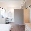 建築家と二人三脚で作り上げた、ラチス梁が美しい家。の写真 動線をコンパクトにまとめたランドリースペース(2階)