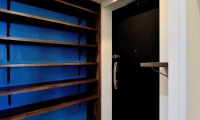 マリンブルー壁×チェリー床。素材に溢れた1LDK+WIC住まい (玄関)
