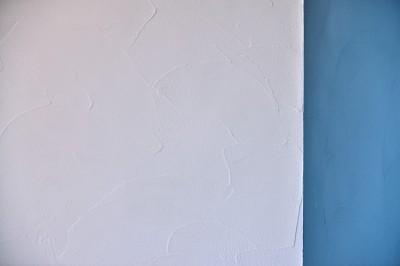 自然な塗りムラが特徴的な珪藻土の壁・天井 (マリンブルー壁×チェリー床。素材に溢れた1LDK+WIC住まい)