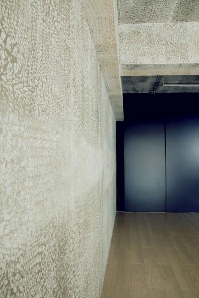 アトリエの壁 (名古屋のアトリエ~マスキング塗装を施した既存コンクリート壁~)