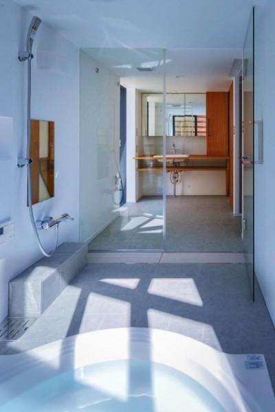 宝塚の家 浴室と洗面 (宝塚の家-private cafe-)