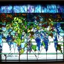 ステンドグラス、ウイステリア(藤の花) 習志野市、鉄筋3階建てのFix窓へ設置しました。の写真 ウイステリア1