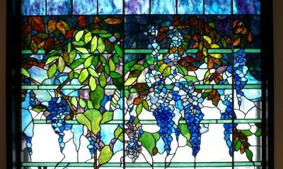ステンドグラス、ウイステリア(藤の花) 習志野市、鉄筋3階建てのFix窓へ設置しました。 (ウイステリア1)