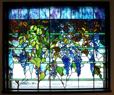 ウイステリア1 (ステンドグラス、ウイステリア(藤の花) 習志野市、鉄筋3階建てのFix窓へ設置しました。)
