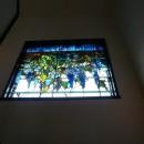 ステンドグラス、ウイステリア(藤の花) 習志野市、鉄筋3階建てのFix窓へ設置しました。の写真 ウイステリア2