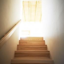 木造町の離れ (リビングへ抜ける階段)