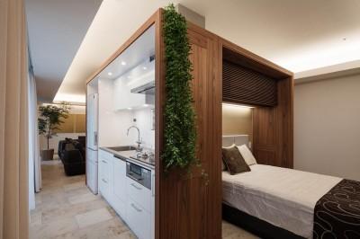 ベッドルーム キッチン (大崎の家)
