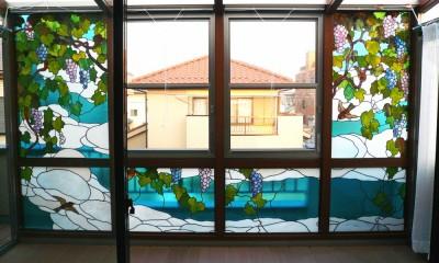 サンルームのステンドグラス 東京都葛飾区 N氏邸