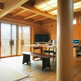 丸太の大黒柱 (無垢の木に包まれた家)