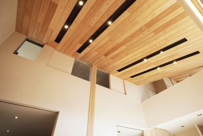 寿司店を営む木の家 (天井板とスポットライト)