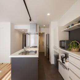 キッチン〜便利な家事動線 (風通しと機能性を兼ねたウォークスルークローゼットで暮らしを変えたリノベーション)
