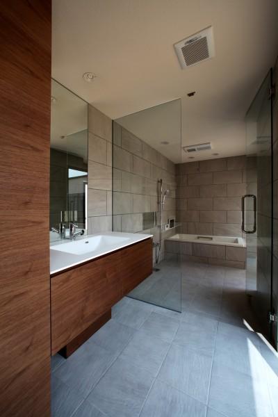 開放感のある洗面と浴室 (保月の家(ほづきのいえ)~お店のようなアプローチ空間~)