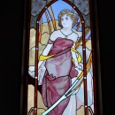 ステンドグラス工房 サンプラン制作の住宅事例「パン工房へミュッシャと動物たちのステンドグラスを取り付けました。」