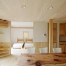 自然素材の開放感リフォームの写真 ダイニングとベッドルーム