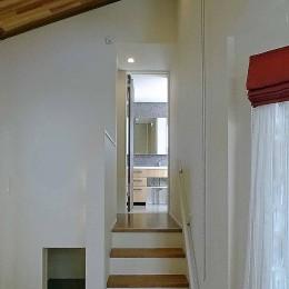 スキップフロア・蔵収納。デザイン住宅 神奈川 (蔵収納~リビング~水廻り室と流れるスキップフロア)