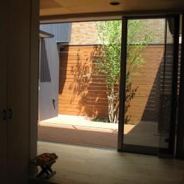 玄関ホールから中庭テラスをみる (M邸ー終の住処として二つの庭を持つコートハウス)