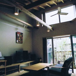 M邸ー終の住処として二つの庭を持つコートハウス (居間・食堂・吹抜け)