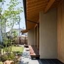 眺望とお庭を楽しむ|火のある暮らしを楽しむ住まい 天理の家の写真 連続する軒下空間
