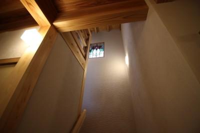 ステンドグラスのある階段室 (伏見の家)