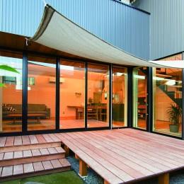変形地を利用した間取りと中庭の配置で抜群の開放感
