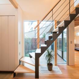 変形地を利用した間取りと中庭の配置で抜群の開放感 (階段)