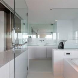 ガラス張りの浴室 (海沿いのマンション最上階のフルリノベーション)