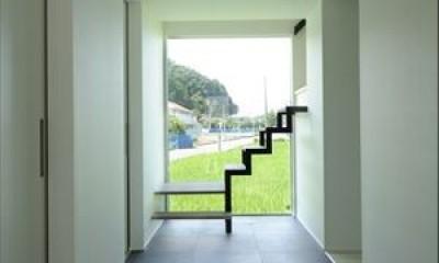 大開口窓から自然を楽しむ家 (開放感のあるエントランスホール)
