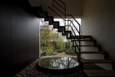 玄関正面の階段 (堺の週末住宅)