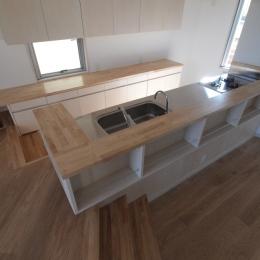 変形旗竿地に建つ半地下スキップフロアの家 (キッチンカウンター)