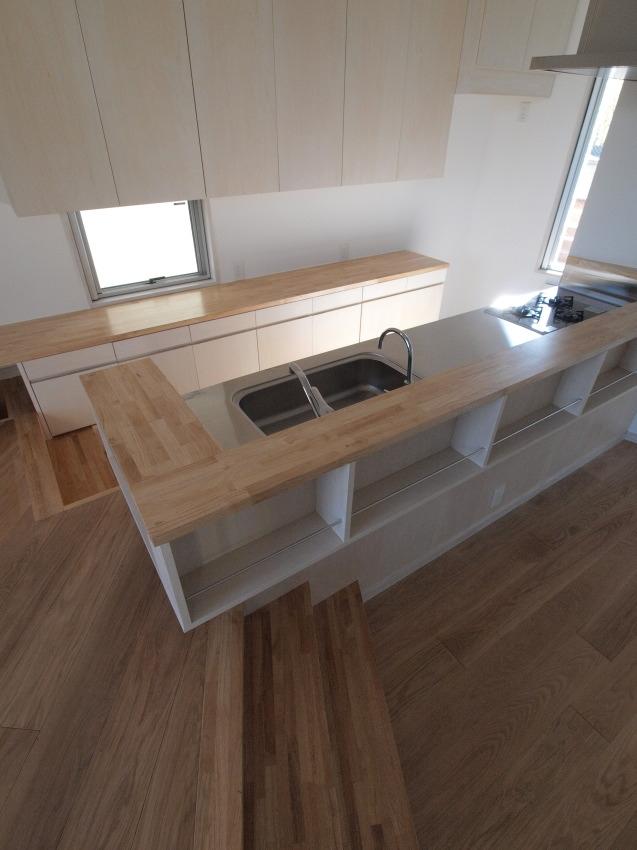 変形旗竿地に建つ半地下スキップフロアの家の写真 キッチンカウンター