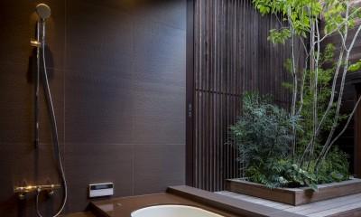 堺の週末住宅 (2階中庭に面した浴室)